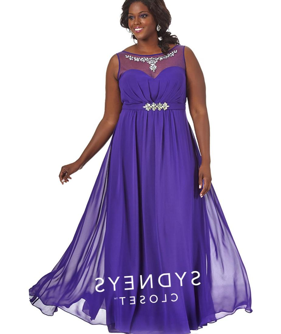 Preorder - Sydneys Closet SC7164 Purple Chiffon Illusion Sweetheart Plus Size A-line Gown 2017 Prom Dresses