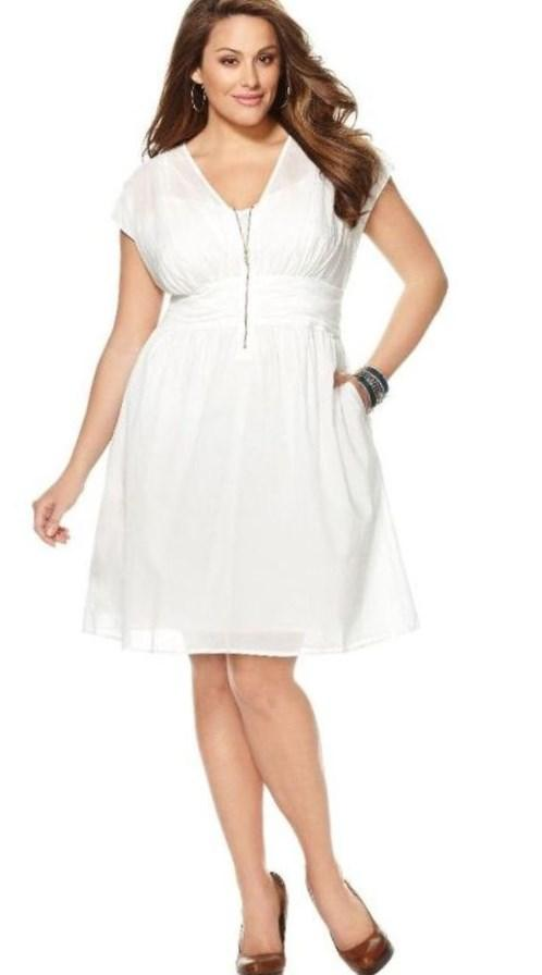 Berenice Plus Size Lace Dress in White - Plus Size Dresses by IGIGI