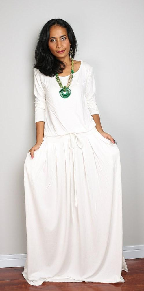 White Plus Size Embroidered Maxi Dress
