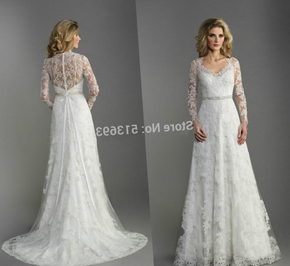 2017 Modest Style Charming Ball Gown Plus Size Long Sleeve Wedding Gowns Muslim Wedding Gown (
