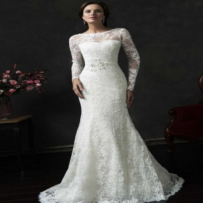 Plus Size Mermaid Wedding Dresses 2017 Illusion Long Sleeves Off the Shoulder Lace-up Back Trumpet Beaded Bride African Gowns robe mariage