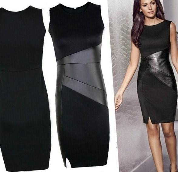 Sexy Women Summer Sleeveless Bodycon Party Black Plus Size Dress Women Leather Office Clothes Fashion Vestidos