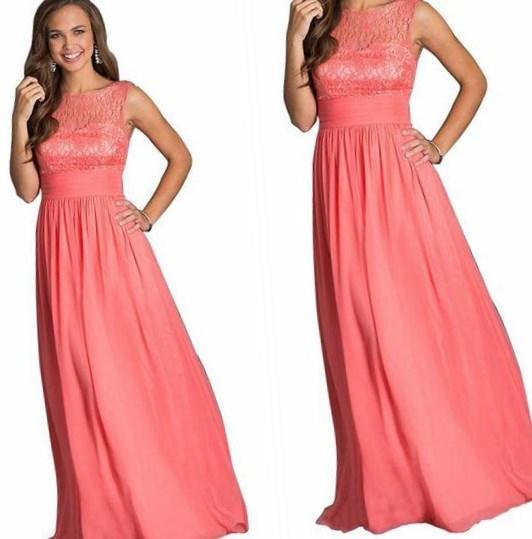 2017 Convertible Bridesmaid Dress Halter Neckline Coral Chiffon Long Party Gown Backless Plus Size Bride Honor