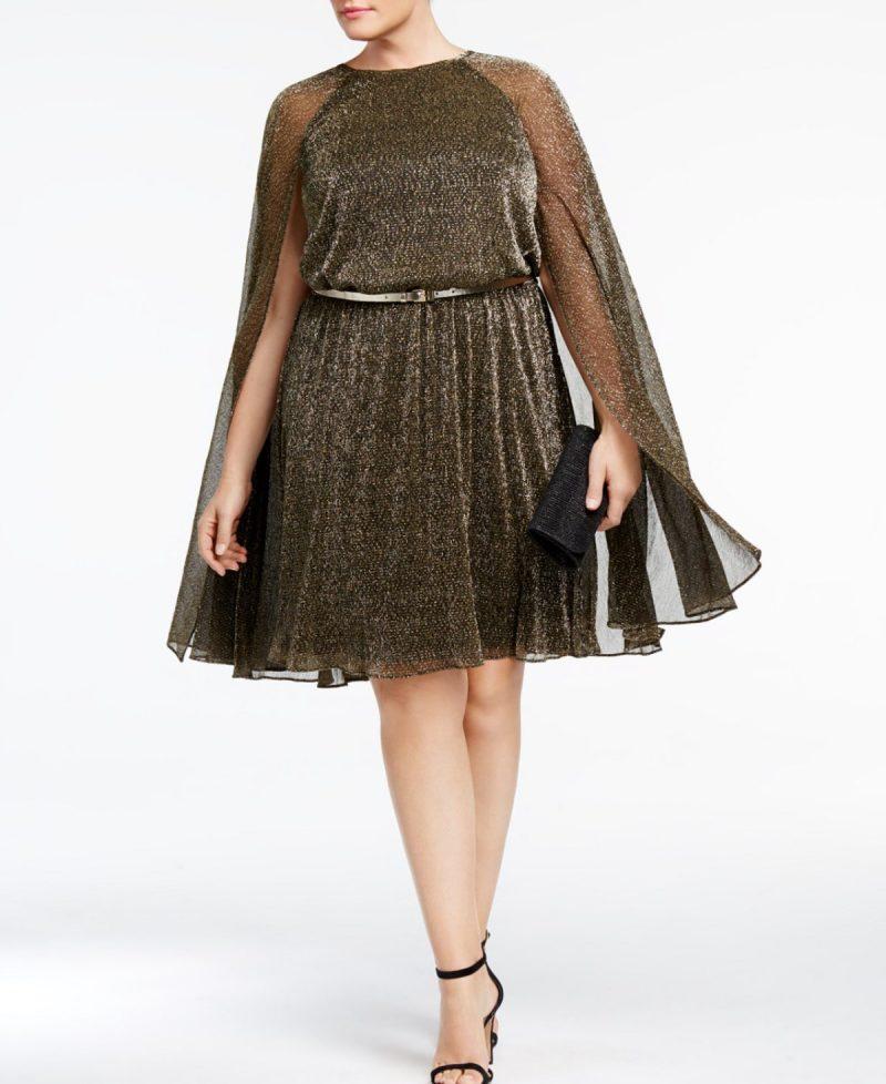 Chic Cape Sleeve Gold Metallic Dress