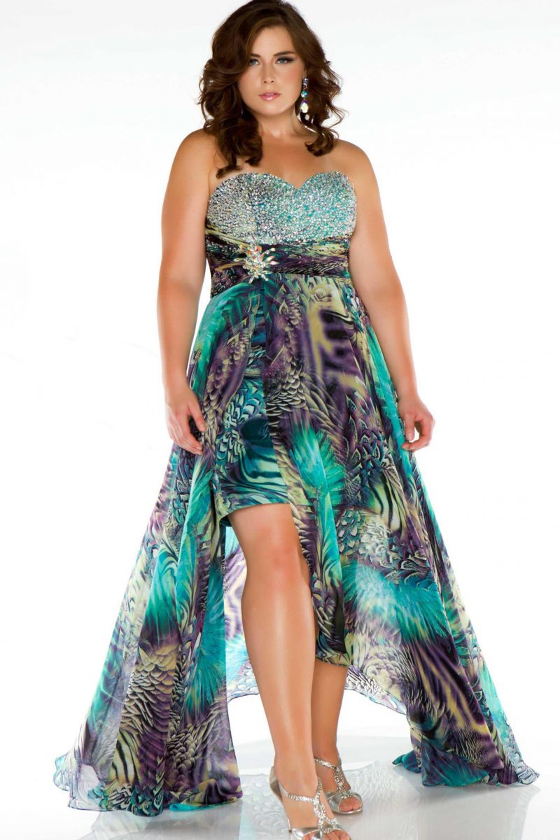 Multi Colored High Low Gown