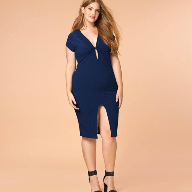 A navy blue front slatted dress with short sleeves