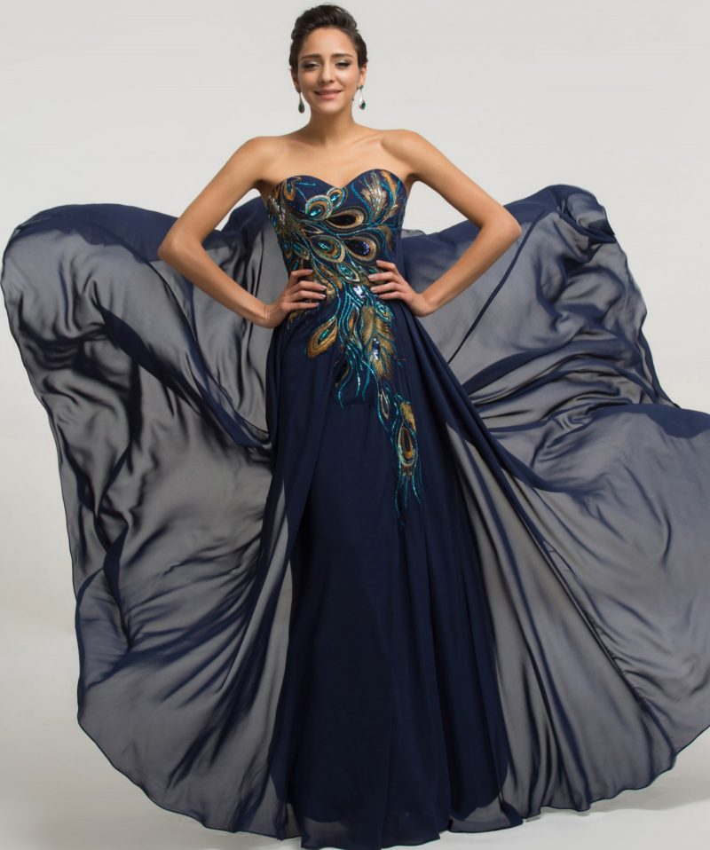 Peacock Long Chiffon Evening Formal Party Dresses