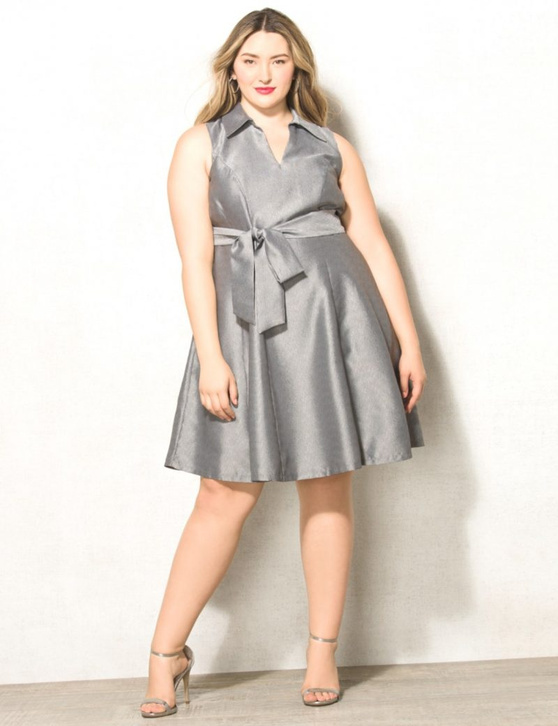 Chic Metallic Silver Belted Dress