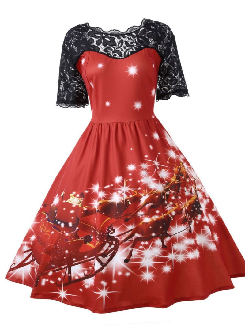 Black Lace and Reindeer Christmas Print Dress