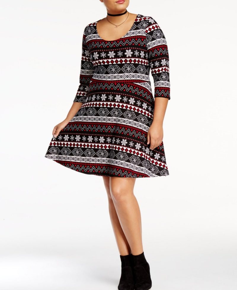 Red and Black Snowflake Print Swing Dress