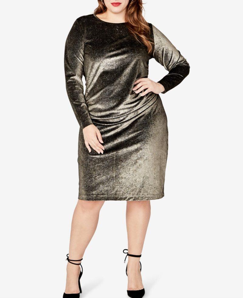 Long Sleeved Metallic Velvet Dress