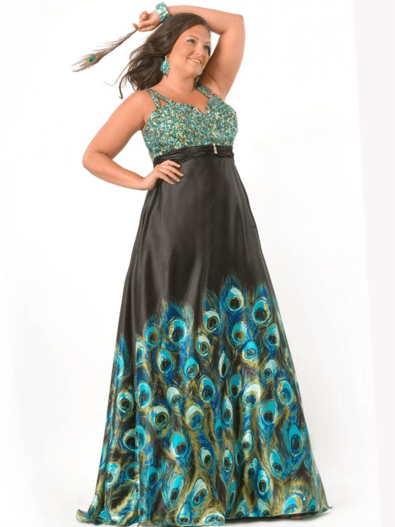 Plus Size Peacock Print Dress