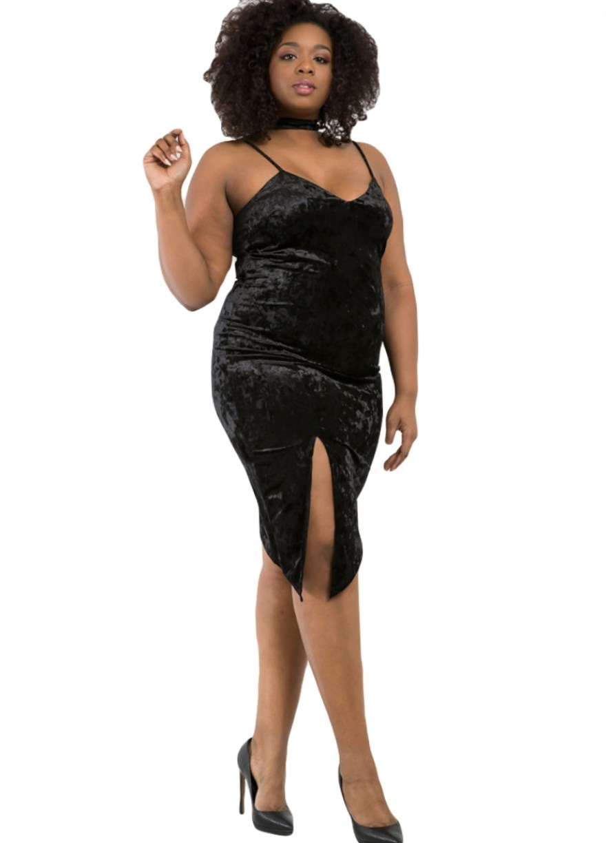 Plus Size Black Velvet Cami Dress With Slit