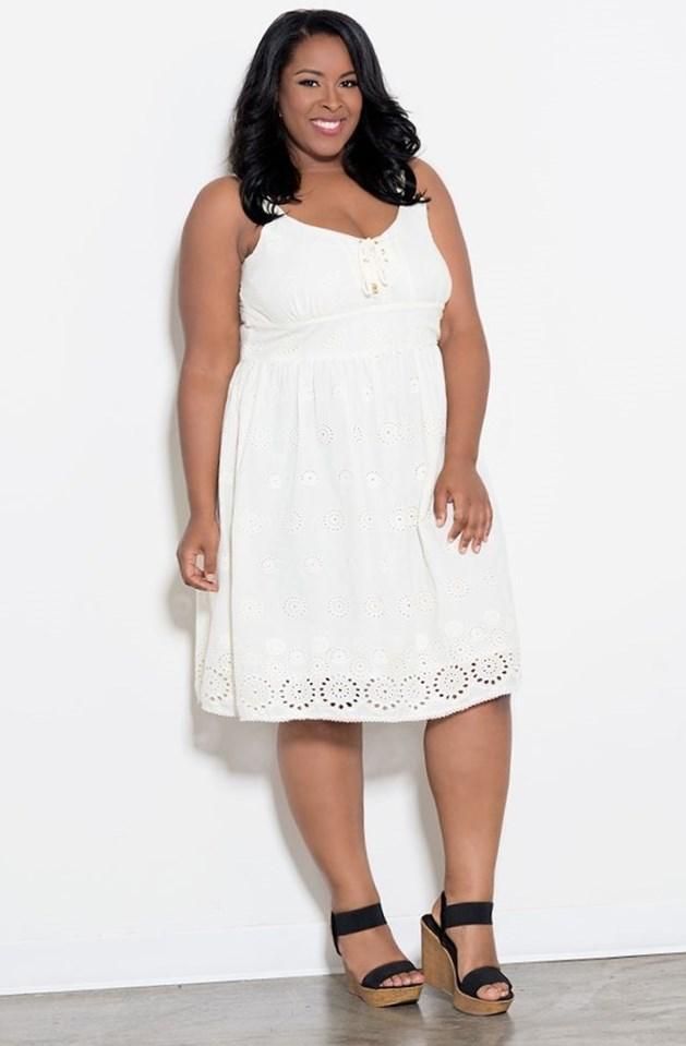 Plus size white eyelet dress - PlusLook.eu Collection
