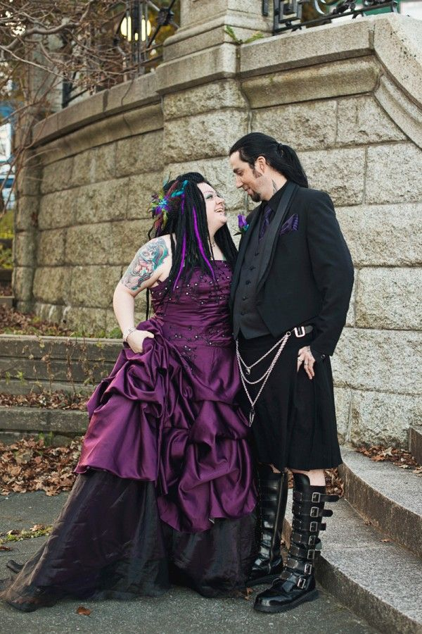 Plus size gothic wedding dress