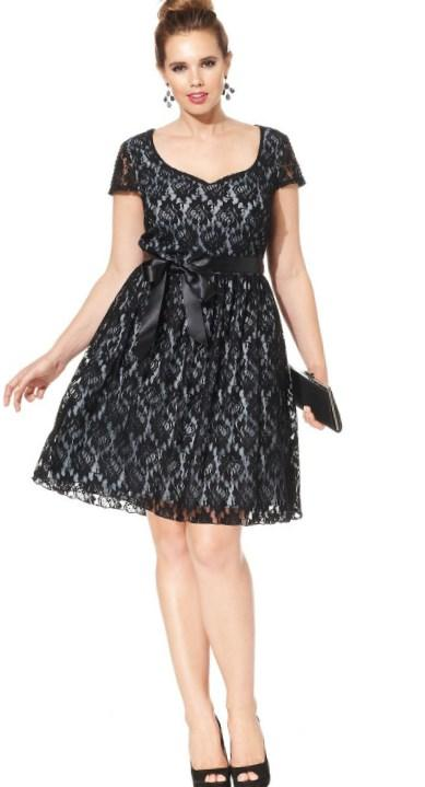 Trixxi Plus Size Cap-Sleeve Illusion Flare Dress