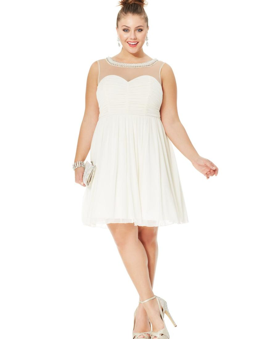 White dresses for plus size juniors - PlusLook.eu Collection