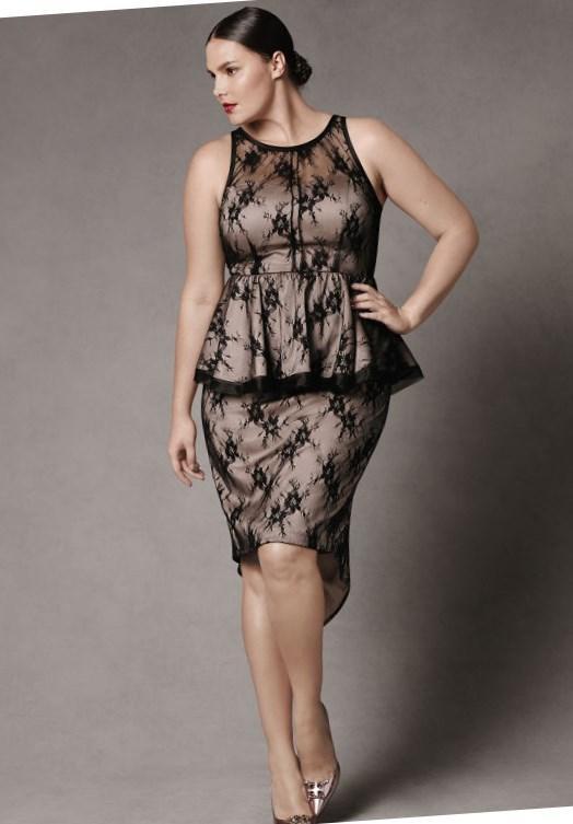 Plus size black peplum dress - PlusLook.eu Collection