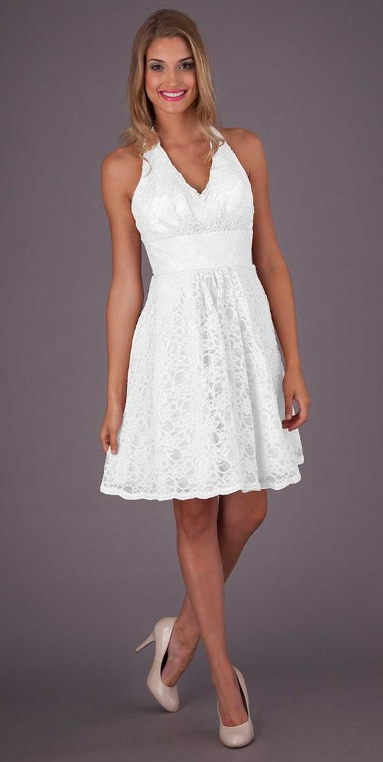 White Halter Dress Plus Size Pluslook Eu Collection