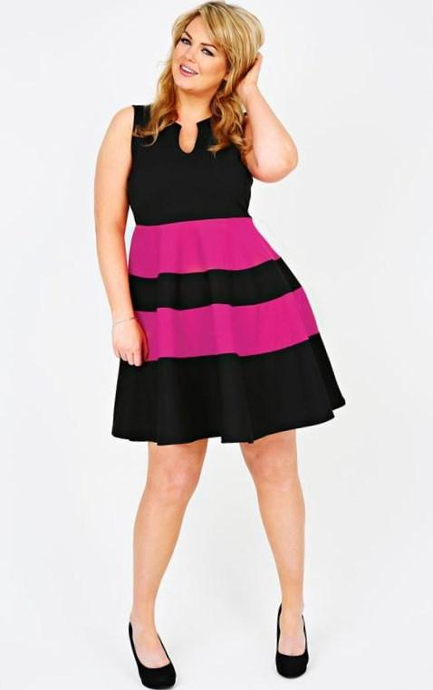 Plus size hot pink dress - PlusLook.eu Collection