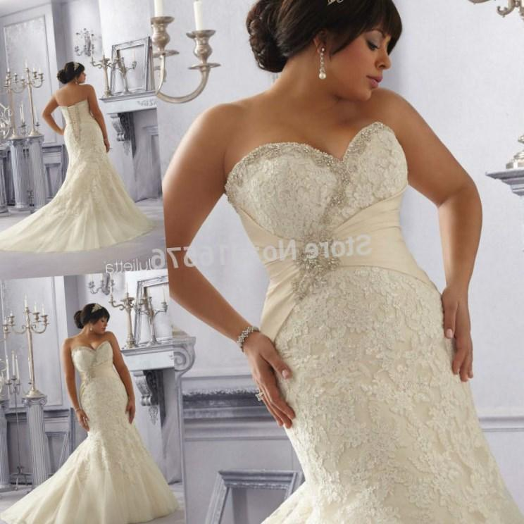 Sweetheart Neckline Corset Back Plus Size Mermaid Beaded Liques Light Gold Wedding Dress For Large Women