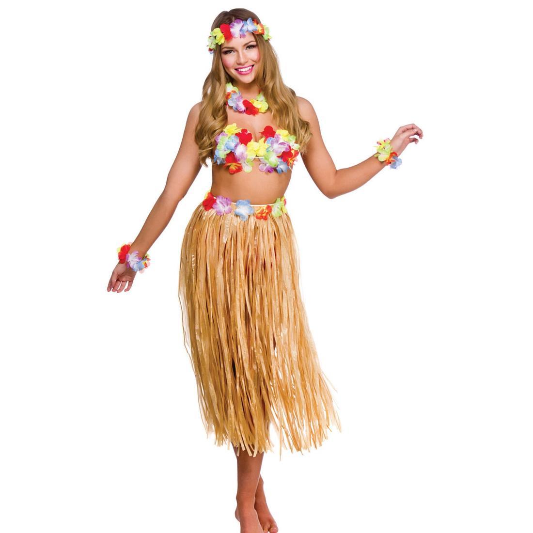 "Onorevoli Hawaiano Hula Girl ERBA GON NA Fancy Dress Costume 24-50 /""Girovita Plus Size"
