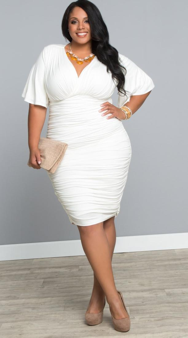 Plus size white wrap dress - PlusLook.eu Collection