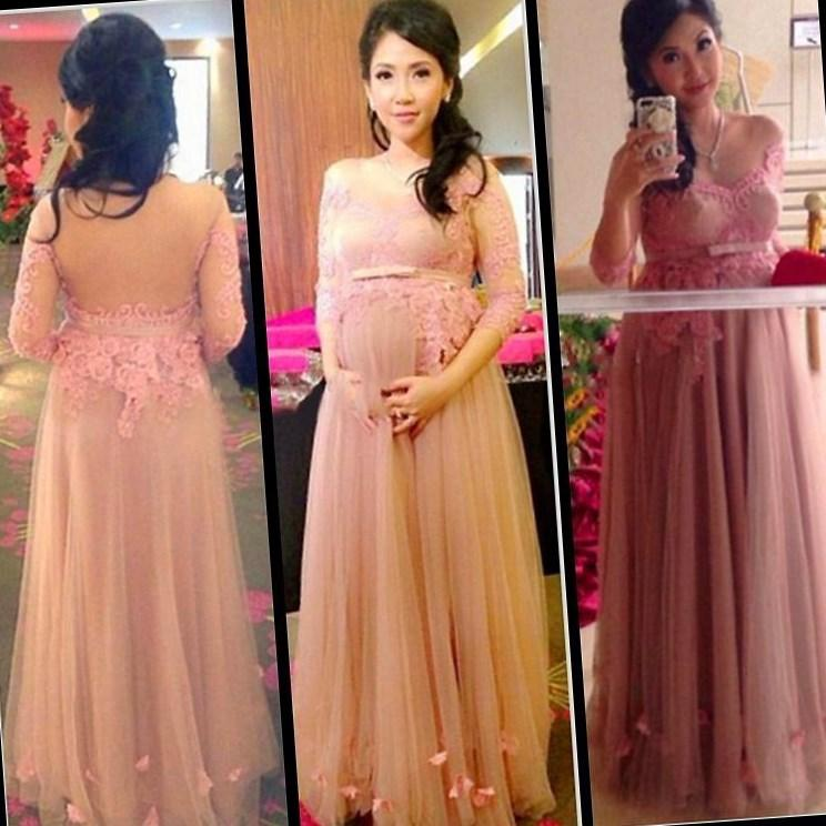 2ee4a5e69a7 2019 Plus Size Prom Dresses for Pregnant Women Tulle Lace Appliques Sheer  Back Modest Pregnant Evening