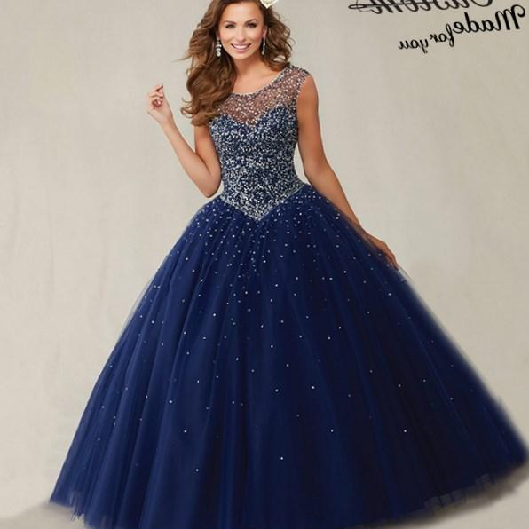 Plus Size Masquerade Ball Gowns Puffy Sweet 16 Navy Blue Quinceanera Dresses 2019 Pearls Cap Sleeves