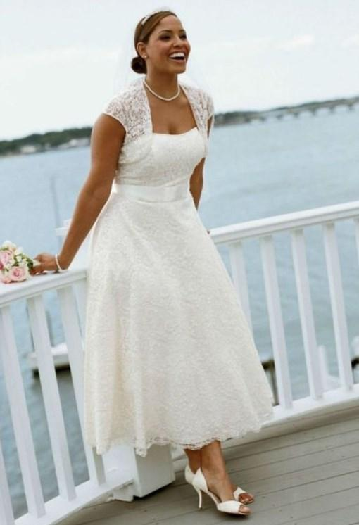 Beach Casual Plus Size Wedding Dress With Sleeves