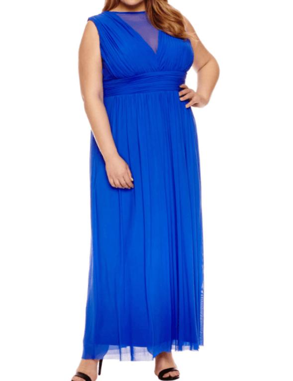 Sleeveless blue long gown