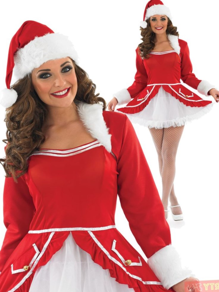 Ladies Santa Skirt with White Trim