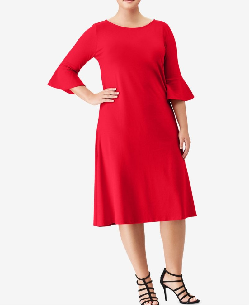Cute Bell Sleeved Red Dress