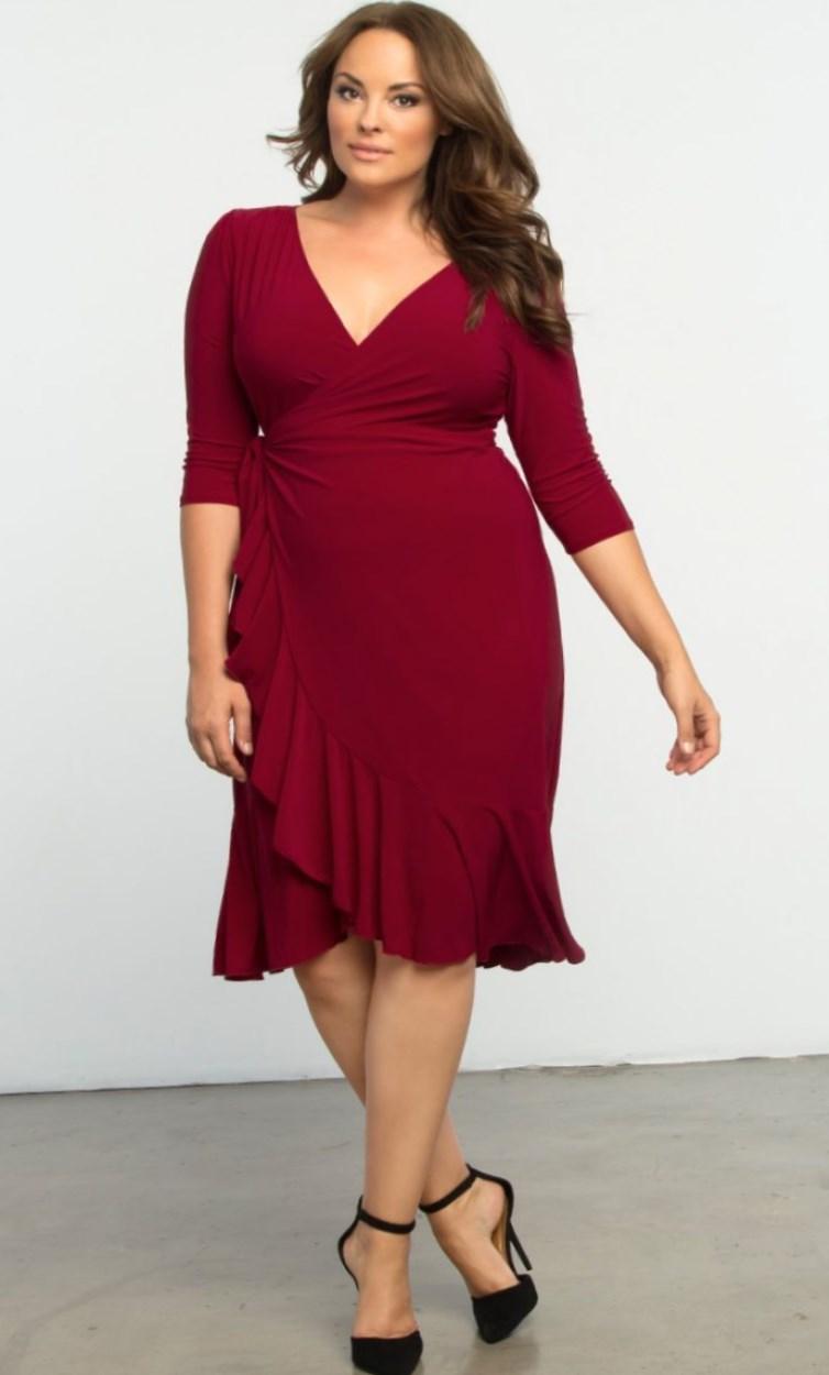 A maroon knee-length V-neck dress