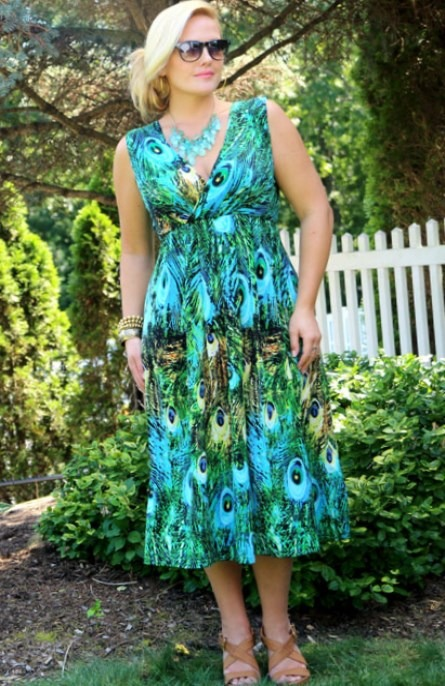 Plus Size Peacock Maxi Dress
