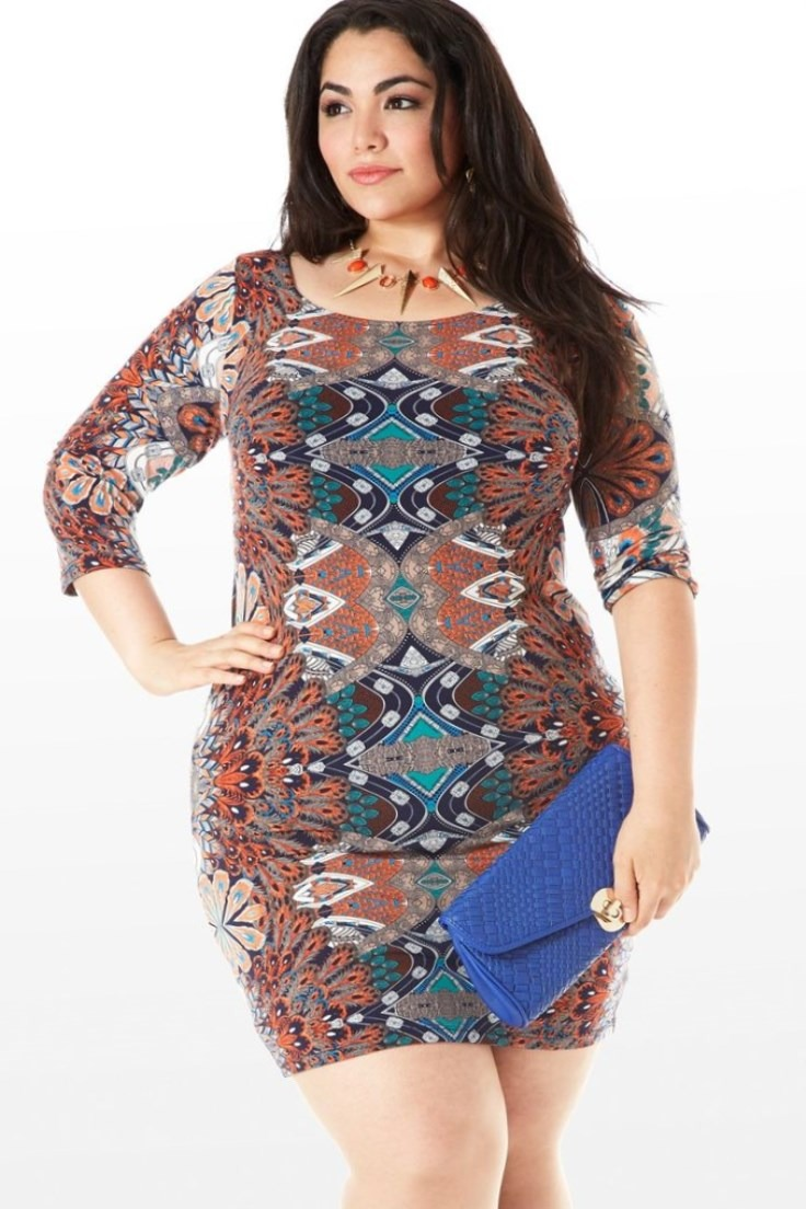 Plus Size Pretty Bird Peacock Print Dress