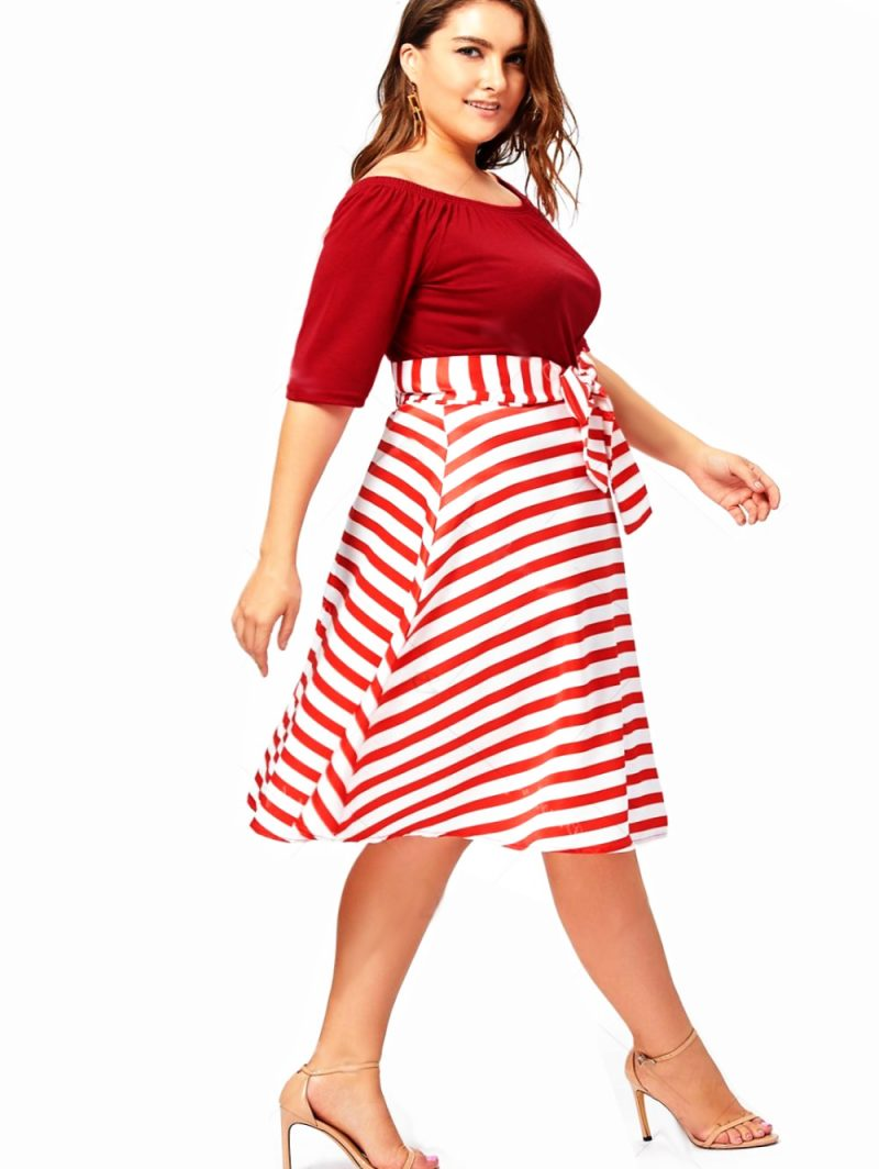 Red Christmas Dress with Whimsical Striped Skirt - Perfect for Dinner Out