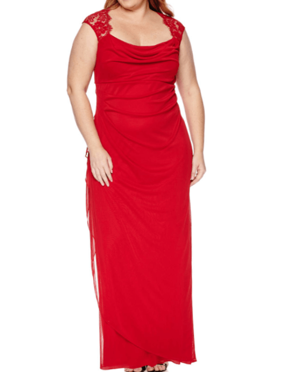 long red holiday gowns with a black pair of shoes