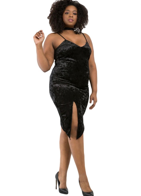 Plus Size Black Velvet Cami Dress With Slit