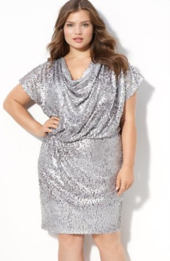 Short Silver Cowl Style Dress