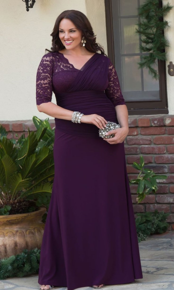 Long royal purple gown with lace sleeves